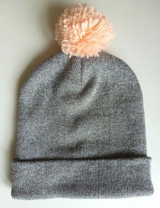Image of Grey Marl & Peach Beanie