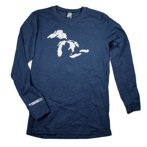 Image of Great Lakes Long Sleeve T-Shirt Navy Heather