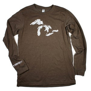 Image of Great Lakes Long Sleeve T-Shirt Heather Brown