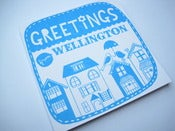 Image of Greetings from Wellington square note card in sky blue