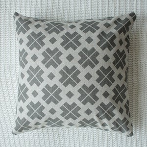Image of Grey Danish Patterned Cushion