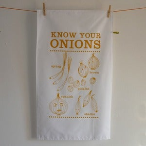 Image of Know your Onions tea towel - sunshine yellow