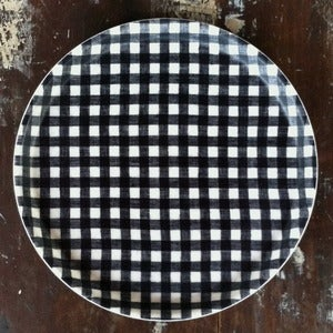 Image of Linen Tray: Round Navy White Check