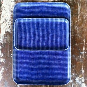 Image of Linen Tray: Blue Thin White Stripe