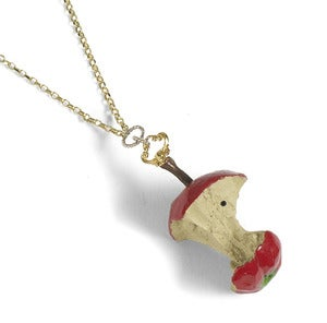 Image of Red Relished Resin Apple Necklace