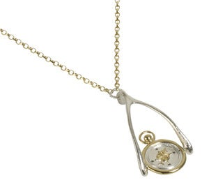 Image of Pivoting Compass Wax Seal Wishbone Necklace