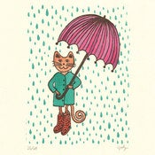 Image of RAINY DAY KITTY  : limited edition screenprint