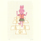 Image of HOPSCOTCHING BUNNY : limited edition screenprint