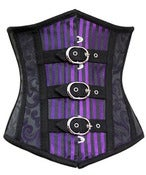 Image of Purple Brocade and Stripe with Buckles Underbust