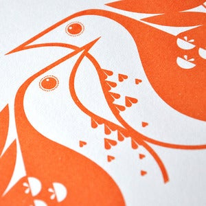 Image of Song Thrushes in Clementine Orange -Hand Pulled, Signed, Gocco Print