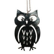 Image of Owl Necklace/Earrings made from a recycled vinyl record.