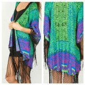 Image of Emerald Green Cardigan with Fringe