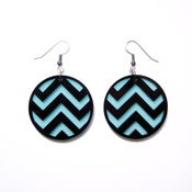 Image of chevron earrings [black/mint]