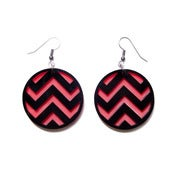 Image of chevron earrings [black/coral]