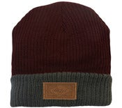 Image of 2012 Leather Patch Winter Beanie - Burgundy/Dark Grey