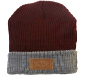 Image of 2012 Leather Patch Winter Beanie - Burgundy/Light Grey
