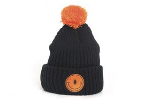 Image of Laser Cyclop smile pom pom beanie black/orange