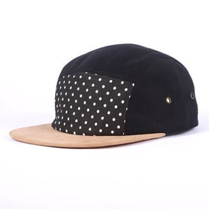 Image of XCVB - Polka Dot 5 Panel Cap Black