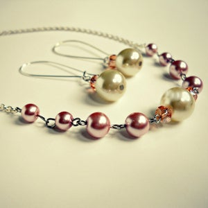 Image of Jarah // Pearl and Swarovski Necklace and Earring Set