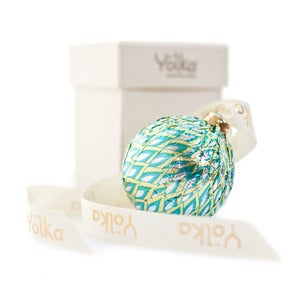 Image of Single Teal Foil Ornament <br>in a White Gift Box