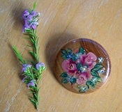 Image of Small Wooden Brooch with Roses