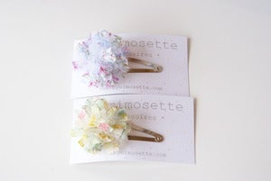 Image of NOUVEAU* Barrette pompon Tulle et Liberty of London(clip)