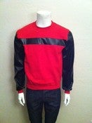 Image of Red Modisch leather sleeve sweatshirt