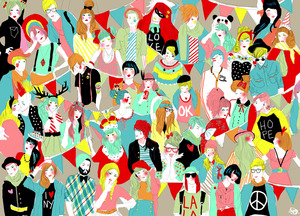 Image of Crowd Scene Wrapping Paper