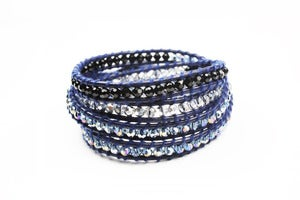 Image of GLIMPSE Crystal & Leather Wrap Bracelet