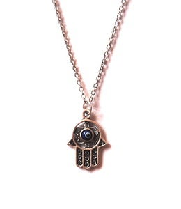 Image of Hamsa Necklace With Blue Glass Evil Eye