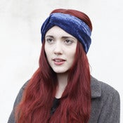 Image of Velvet Turban Headband - Navy