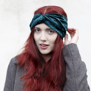 Image of Velvet Turban Headband - Bottle Green
