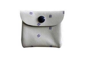 Image of Change Purse- White Leather with Purple Claws