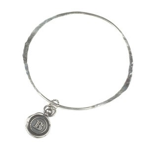 Image of Mini Personalised Oxidised/Polished Wax Seal Bangle (A-Z)