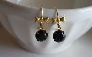 Image of Black Vintage Stone Earrings