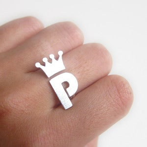 Image of Crown with Custom Initial - Handmade Silver Ring