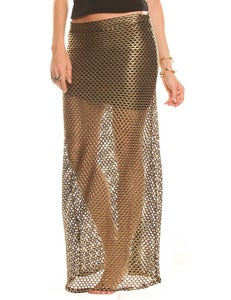 Image of MESHED UP MAXI SKIRT IN GOLD