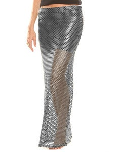 Image of MESHED UP MAXI SKIRT IN PLATINUM