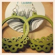 Image of Wood Earrings - Light Olive