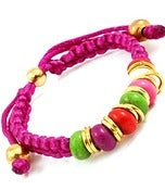 Image of Beaded Cord Bracelet (Purple, Green, Multi)