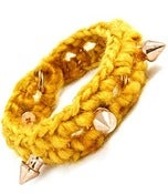 Image of Spiked Fabric Bracelet (yellow or purple)