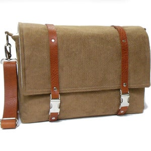 "Image of Ultimate Stash 13"" / 15"" / 17"" laptop messenger bag with leather strap in camel brown herringbone"