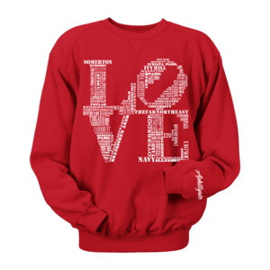 Image of Classic LOVE Crewneck (Red/White)
