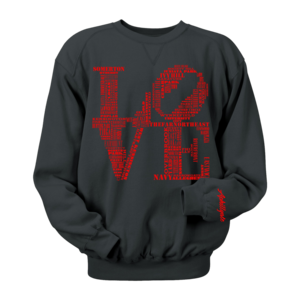 Image of Classic LOVE Crewneck (Black/Red)