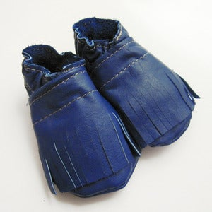 Image of Blue Fringe Baby Booties