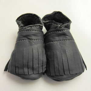 Image of Charcoal Fringe Baby Booties