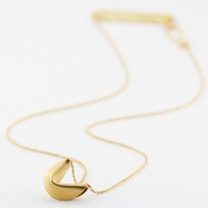 Image of 18k gold vermeil fortune cookie necklace 16&quot;