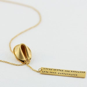 Image of 18k gold vermeil fortune cookie lariat - 18&quot;