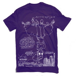 Image of Sitting Upside Down T Shirt (Purple)