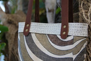Image of  Stormy Kai Handmade Mini Hobo Purse Shoulder Bag - Mid Century Modern Vintage Linen Eco Green OOAK